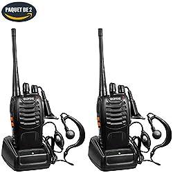 ROXTAK BF-888S Talkie Walkie16 Canaux 2-Way Radio Longue Portée Rechargeable pour Chasse Profession Randonnée Loisir Camp, 2 PCS, Noir