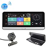 UFFD 7,84 Pouces 170°Angle Full HD 1080P 3G Pliable vidéo Voiture Dash Webcams, Carte de TF de Soutien/G Senor/Bluetooth Mains Libres avec Avant et arrière Double Enregistrement