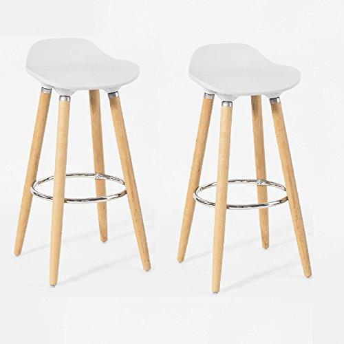 SoBuy® 2x FST34-W Lot de 2 Tabourets de bar cuisine avec repose-pieds haute qualité