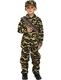 BOYS KIDS ARMY CAMO WORLD WAR MILITARY SOLDIER FANCY DRESS COSTUME 4- 6 YEARS