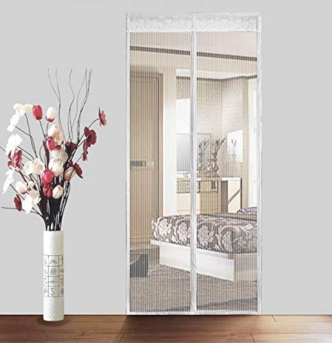 Schermo magnetico porta con pesanti mesh tende per porte francesi,tenere gli insetti fuori consente di aria fresca in,davvero facile per installazione senza alcun attrezzo-bianca 140x240cm(55x94inch)