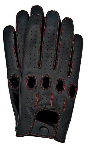 Riparo Motorsports Echte Lederhandschuhe für Männer Groß Schwarz Roter Faden