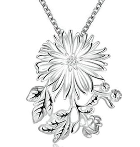 Epinki Schmuck, Damen Halskette Edelstahl Chrysantheme Form Anhänger Damenkette Silber mit (Kostüme Schwarze Für Ideen Jungs)