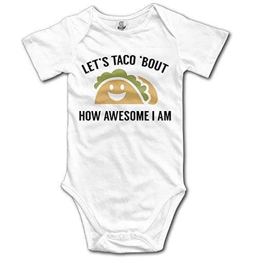 TKMSH Let's Taco Bout How Awesome I Am Boy's & Girl's Short Sleeve Jumpsuit Outfits White