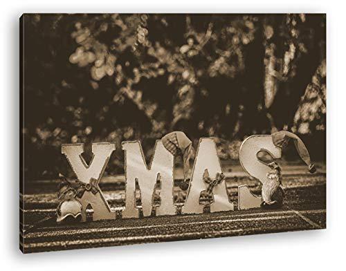 deyoli Weihnachtliche Grüße Format: 60x40 Effekt: Sepia als Leinwand, Motiv fertig gerahmt auf Echtholzrahmen, Hochwertiger Digitaldruck mit Rahmen, Kein Poster oder Plakat