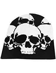 Dame Hommes Tête De Mort Motif Noir Blanc Tricot Élastique Hiver Chaud Bonnets Casquette Chapeau