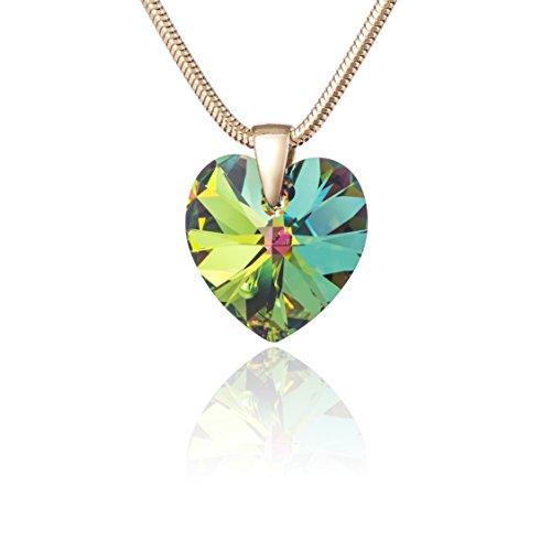LillyMarie Damen Sterling-Silber 925 original Swarovski Elements Herz mehrfarbig Schmuck Etui beste Geschenke für Freundin