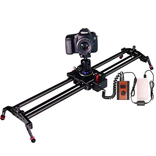 ASHANKS Silent Motorisierte Kamera Slider 31,5 Zoll /80cm Carbon Fiber Sliders Schienen Track Dolly Zeitraffer für Canon/Nikon/Sony/DSLR/Kamera/Camecord/Film Fotografie,Last bis zu 5kg