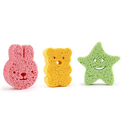 OUNONA Esponjas con forma de estrella oso conejo colores para baño de niños y bebé 3pcs