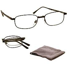 UV Reader Negro Plegable Gafas de Lectura Hombres Mujeres Inc Bolsa UVFR034 Dioptria +2,00