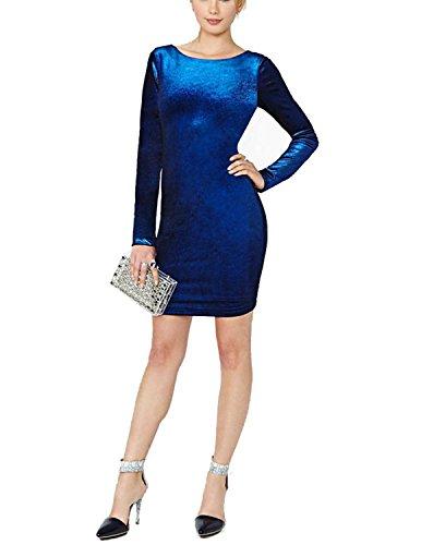 Sitengle Damen Kleid Elegant Abendkleider Ballkleider Gold Samt Langarm V-Ausschnitt Festlich Einfarbig Knielang Kleider Blau