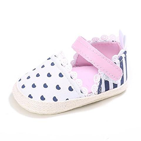OverDose,BéBé Filles CœUr Bande Impression Chaussures Sneaker AntidéRapant Semelle Souple Chaussures Enfant (13, Rose)
