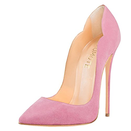 MERUMOTE , Bout pointu femme Pink-Faux Suede