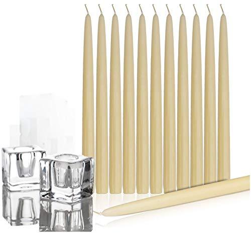Paquete de 12 - de diez pulgadas de marfil Taper velas con 2 sostenedores de cristal - Navidad adornos de mesa