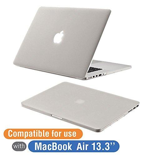 MacBook Air Schutzhülle, Orzly - Protective SnapShell Cover für das MacBook Air (13 Zoll Modell) - Semi Transparent Weiß Deckel mit solidem Gehäuse, Ausschnitte zu allen Anschlüssen und kleinen Gummifüßen