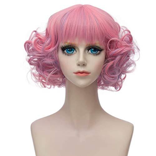 COSPLAZA Short Waves Curls Wohnung Pony Retro Fashion Lady Cosplay Tägliche Kostüm Perücken Mixed Pink