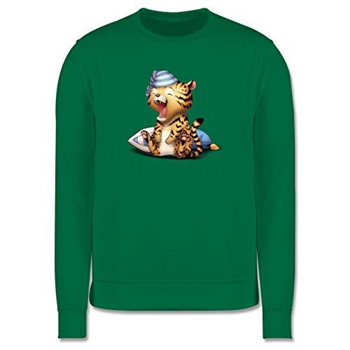 Wildnis - Gähnender Leopard - Herren Premium Pullover Grün
