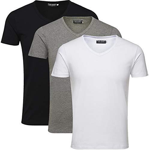 JACK & JONES Herren 3er Pack Basic T-Shirt V-Ausschnitt Rundhals Einfarbig Slim Fit Weiß Schwarz Blau Grau Mix S,M,L,XL,XXL (M, Mix 3er Pack V-Neck ohne Wäschenetz) (Herren T-shirt Grau)