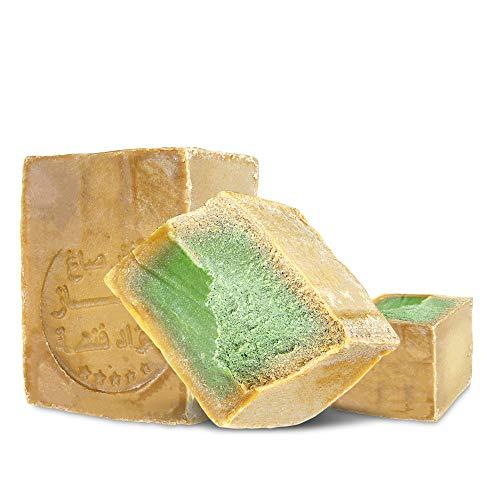 Grüne Haut Seife (Aleppo Seife 2 x ca 210g, 85% Olivenöl 15% Lorbeeröl,PH Neutral, Vegan, Detox Handmade nach Rezeptur wie vor 1000 Jahren)