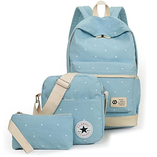 Girls' Canvas School Backpack Set 3 Pieces School Bags Set for Teenage Girls Casual Daypack/Shoulder Bag/Pencil Case