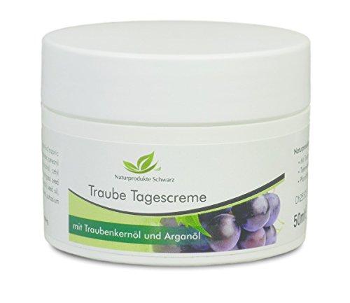 Die Natürliche Antioxidative Feuchtigkeitscreme (Naturprodukte Schwarz - Traube Tagescreme - Gesichtscreme mit BIO Traubenkernöl und BIO Arganöl, 50ml)