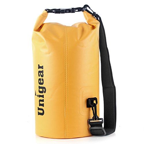 Sacco Dry Bag Borse Impermeabile, Dry Bag Galleggiante può Essere Usato per la Navigazione, Trekking, Kayak, Canoa, Pesca, Rafting, Nuoto, Campeggio, Sci e Snowboard con Omaggio Gratuito di Una Custodia Telefono Impermeabile Universale (Fango Giallo, 40L)