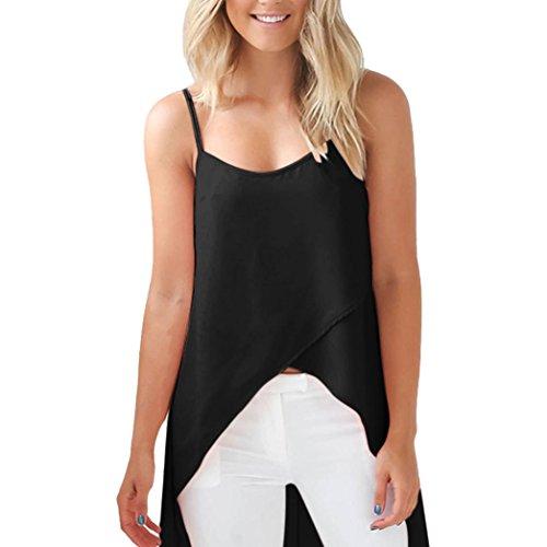 Tonsee Mode Femme Veste d'été Chemise sans manches Blouse Débardeurs T-shirt Noir