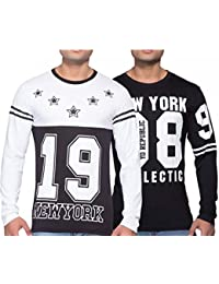 Yo Republic Mens Cotton Tshirt Combo Offer(Pack of 2)(AT-0371-1 XXL_White_Black_XX-Large)