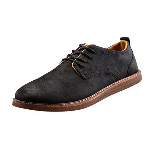 England Herren Desert Boot (JIANGFU Männer Casual British Peas Business Schuhe,Männer-Art und Weise schnüren sich oben Geschäfts-Arbeits-England-beiläufige lederne Schuhe (43, BK))