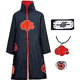 Amycute Itachi Mantello Naruto Costume per Bambini Adulti, Naruto Cappotto Fascia Anello Collana Halloween Natale Cosplay Acc