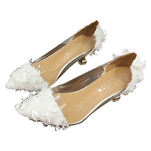 YYF Frauen Lowpointed Low Heel Kleid Pump Oppointed Dress Pump Pfennigabsatz Schuhe Sexy Transparente Sandalen 6-zoll-sexy White Schuh