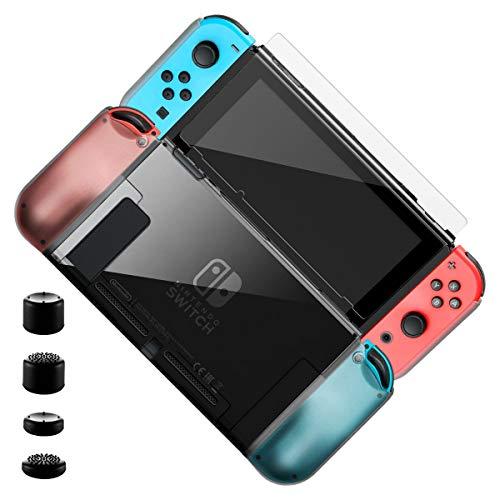 Hülle für Nintendo Switch, Elzo Ultra dünn Schutzhülle/Abdeckung/Hülse/Schale mit TPU+PC/Schock Absorption/Kratzfest mit Schutzfolie und 4 Analogstick-Aufsätze für Nintendo Switch auf Dock und Joy Con