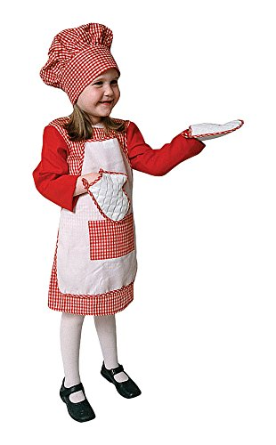 Koch Mädchen Kleines Kostüm - Dress Up America Roter Gingham-Mädchen-Koch-Kostüm-Satz