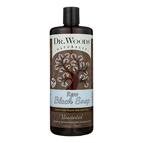 Dr. Woods - Flüssige rohe schwarze Seife mit Messe-Handel Schibaum-Butter Unscented - 32 Unze. (Unscented Seife)