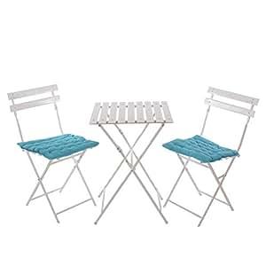 Bistro-/Garten-/Biergarten-Garnitur aus Metall ~ weiß, Tisch Sprossen, Kissen türkis