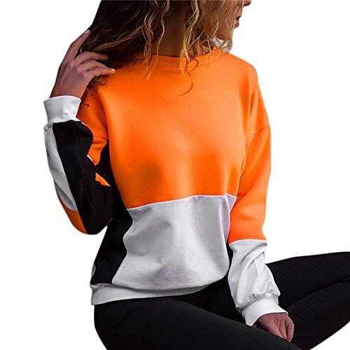 JUSTSELL Langarmshirts Pullover für Damen Herbst Winter,Frauen Farbe Patchwork Sweatshirt Rundhalsausschnitt T Shirt Casual Bluse Sport Tops