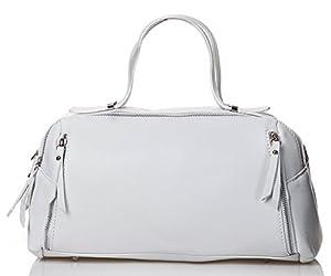 italienische Damen Henkeltasche Tokio aus echtem Leder in rein weiß, Made in Italy, Handtasche 35x20 cm
