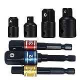 HYLONG Akkuschrauber Stecknuss Adapter Steckschlüssel Nuss Set 3-tlg 1/4 3/8 / 1/2 Zoll und Stecknuss Adapter 4-tlg 1/4 auf 3/8 - 3/8 auf 1/4 Zoll - 3/8 auf 1/2 - 1/2