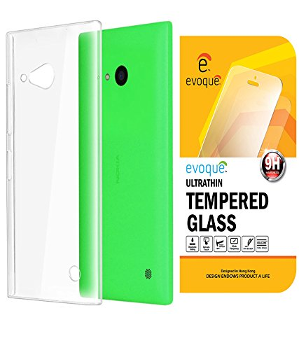 Evoque Transparent Back Cover For Nokia Lumia 730 With Tempered Glass  available at amazon for Rs.175