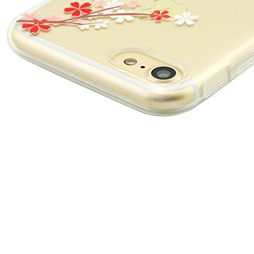 iPhone 8 Hülle, Fraelc iPhone 7 Weich Silikon Rahmen Handyhülle Transparent Schlank Schutzhülle Crystal Clear TPU Bumper Case für Apple iPhone 7 / iPhone 8 mit Blume Muster Design Hart Backcover #1