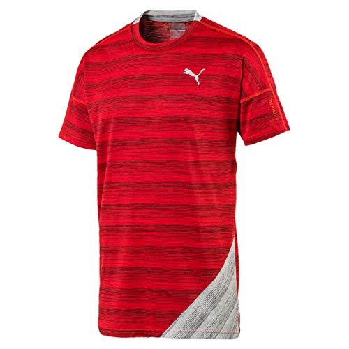Puma PACE Herren Running T-Shirt Hi Rsk Red Hthr-Lt Gry Hthr S - Running Shirt Gry
