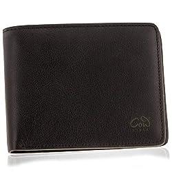 Designer Geldbörse mit Gravur aus Leder für Herren in braun oder schwarz mit Münzfach aus hochwertigen Echtleder und Edelstahl der Marke COWstyle®