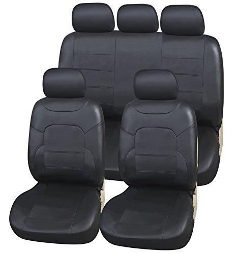upgrade4cars - Set di coprisedili universali per sedili anteriori e posteriori, colore: nero