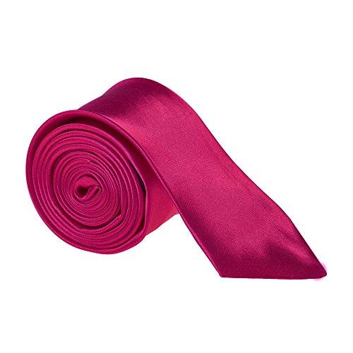 """Hommes 2"""" Fin Cravate Satin Noir Bleu Rose Gris Argent Or Blanc Rouge Marron Violet Rose - Fuchsia"""