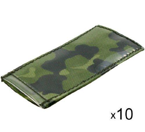 BE-X ID Hüllen -Modular ID Tags- auf Klett, 5x10cm, z.B. für Einleger, - 10 Stück - dänisch tarn
