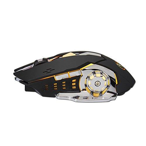 Yowablo Mini Maus kabellos Wiederaufladbare 2400DPI Wireless Gaming Mouse 2.4G Batterie Gamer 6 Tasten Mäuse (schwarz) -