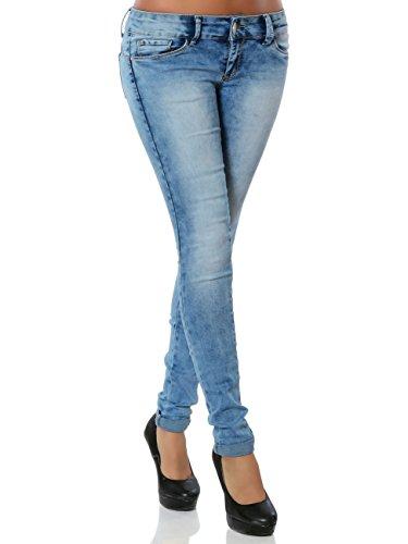 Damen Skinny Jeans Push-Up Hose Stretch Röhre No 15843, Farbe:Blau, Größe:S / 36