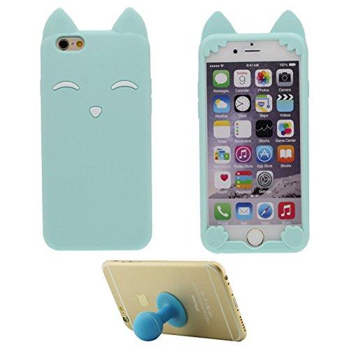 """iPhone 6S Plus Coque Jaune Étui de Protection Anti Choc 3D Mignon Sourire Fox Désign Populaire Doux Silicone TPU Gel Mince Case Bumper pour Apple iPhone 6 Plus 6S Plus 5.5"""" avec 1 Silicone Titulaire bleu clair"""