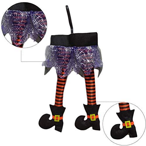 Zauberer Von Einfach Der Kostüm Oz - Bogeger Hexenbeine, Wicked Novelty Hexenbeine Stoffhexenbeine Mit Schuhen Fantastische Halloween-Dekoration, Lila, 46 * 22 cm