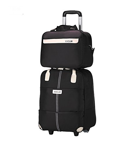 Di Grazia Black Colour 18 inch Combo of 2 luggage trolley with 2 wheels and laptop bag with large capacity cabin boarding folding bag made of Oxford Material